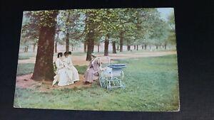 Kensington Gardens - Seated Women and Pram 1904 Postcard