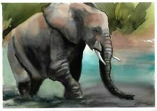original drawing A4 409LM art by samovar watercolor elephant Signed 2020
