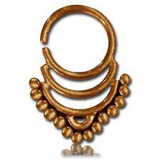 "Ornate 14G Brass Hanging Septum 9Mm Ring Diameter Nose Afghan Tribal 5/8"" Long"