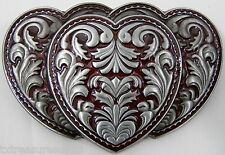 BELT BUCKLES casual dress metal western accessories RED TRIPLE HEARTS buckle NEW