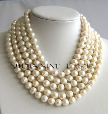 100 Inches 10-12mm White Freshwater Pearl Necklace Strand Jewelry UK
