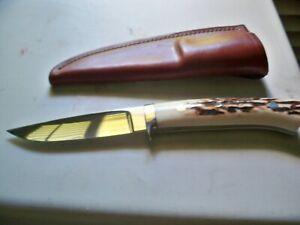 George Herron custom knife model 7 stag handles mint, unused