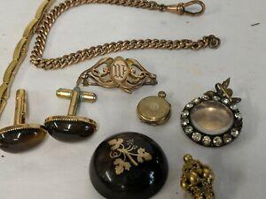 Antique Vintage Assorted pique, Rolled Gold,  tiger eye cufflinks other item