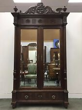 Antique French Carved Armoire Oak Breton Mirrored Wardrobe C1800s - L037a