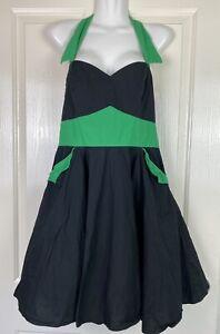 Hell Bunny Dress Fit & Flare Swing Black Green Halter Rockabilly Swing Size M
