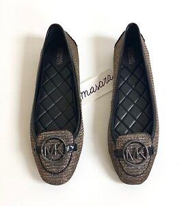 WMN MK Michael Kors Lillie Fulton Moc Moccasins Glitter Chain Mesh Black/Bronze