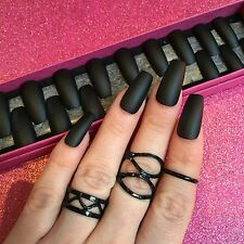 Hand Painted Full Cover False Nails. Coffin Matte Black Nails. 24 Nail Set.