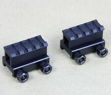 "2 QTY - 1"" 4 Slot Medium Riser 20mm WEAVER PICATINNY Base/Scope Mount Rail"