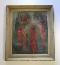 LOLI VANN PAINTING  ABSTRACT EXPRESSIONISM NUDES PICKING FLOWERS 1940'S VINTAGE