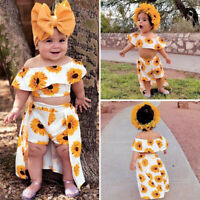 3PCS Toddler Kids Baby Girl Sunflower Crop Tops Shorts Dress Outfits Sunsuit