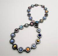 Chakra Non Magnetic Hematite Colourful Gemstone Healing Necklace Cat Eye Beads