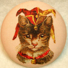 Jester Cat Fabric Covered Button 1 & 1/2 inch