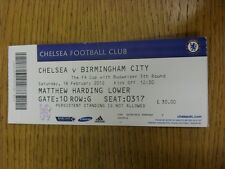 18/02/2012 Ticket: Chelsea v Birmingham City [FA Cup] (Faint Crease). Thanks for