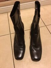 COLE HAAN COUNTRY DARK  BROWN LEATHER HIGH HEEL ZIPPER ANKLE BOOTS WOMEN'S 9B
