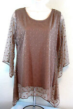 Womens Sz LG Blouse Taupe Tan Sheer Dot Lace Over Tank  Hi Low Shannon Ford NY
