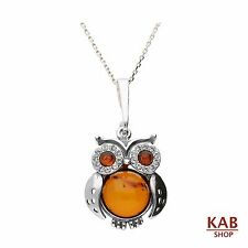 COGNAC BALTIC AMBER ZIRCON STERLING SILVER 925 BEAUTY PENDANT - OWL, KAB-202