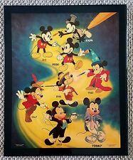 Vintage DISNEY MICKEY Mouse 1928-TODAY Acrylic Wood Wall ART VERY RARE