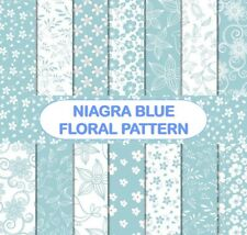 NIAGRA BLUE FLORAL PATTERNS SCRAPBOOK PAPER - 14 x A4 pages