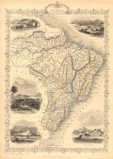 Le brésil. uruguay comme partie du brésil. rio de janeiro vue tallis/Rapkin carte de 1851
