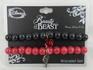 Disney Beauty & The Beast Belle Marbled Beads Beaded Stretch Charm Bracelet Set