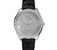 New Authentic guess Black Leather woman's watch U75033L2 , New with Tag