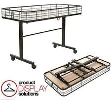 Dump Bin Table on Wheels with Folding Base   Black