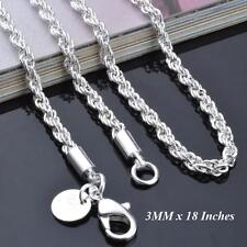 Ladies Sterling Silver L/F 3MM x 18 Inches Rope Chain Necklace