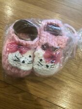 """Handmade Knitted Pink Bootie shoes - Hello Kitty 3-6 Months - Heel To Heel 4"""""""