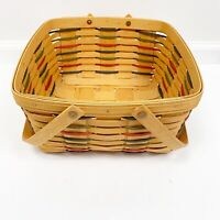 Longaberger 2000 Medium Large Woven Picnic Basket Blue Green Red With Handles