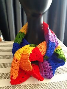 Rainbow scarf, cotton, crochet,106 x 23 centimeters