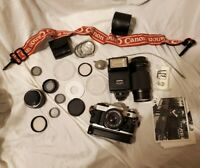 Canon AE-1 Program 35mm Film Manual Camera w/ FD 50mm 1:1.8 Lens and more