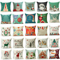 "18"" Christmas Style Cotton Linen Pillow Case Sofa Throw Cushion Cover Home Decor"