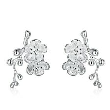 New selling 925 Sterling Solid Silver Plated Plum blossom earrings #157