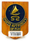 """Vintage Antique Wooden Plaque & Sign """"Ports Authority Of Fiji"""" For Home Decor"""