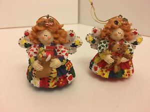 Pair Of Bright Ceramic Angels With teddy Bear & Presents Hanging Xmas Decs