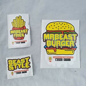 LIMITED EDITION - Mr Beast Burger Authentic Official UN-PEELED Three Stickers!!