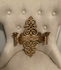Home Interiors Syroco Gold Ornate Vintage 2-Arm Sconce Candle Holder