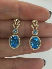 14KT YELLOW GOLD 5.34 CTW GENUINE SWISS BLUE TOPAZ & DIAMOND EARRINGS