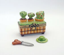 New Mothers Day French Limoges Trinket Box Planter w Potted Flowers Shears Hat