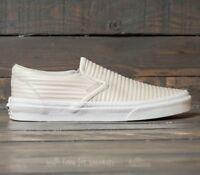 Vans Classic Slip On (Moto Leather) Birch/Blanc de Blanc Skate Mens Size 8