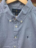 Ralph Lauren Men's 100% Cotton Stripe Shirt Blue Long Sleeve Smart