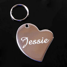 Stainless Steel Heart Pet Tag With Personalised Engraving ID Dog Cat Pets Collar