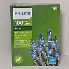 Philips 100 CT Mini String Lights Blue Indoor Outdoor Christmas Dorm Room Patio