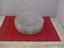 Snack Plates Lot of 4 Bow Tie Divided Plates Are Clear Glass 9-1/4