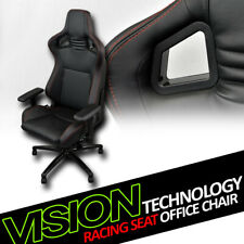Black With Red Stitches Pvc Leather MU Racing Bucket Seat Game Office Chair Vl27