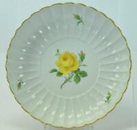 Original Meissen Porzellan Fächerschale Schale gelbe Rose Goldrand 21,5 cm