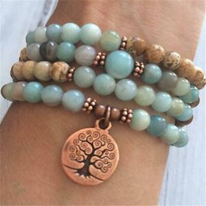 6mm Amazonite Picture Stone Copper Tree Pendant Necklace Meditation Cuff