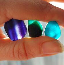 3 x JQ English Sea Glass Multis Turquoise Purple Striped Green Rare Authentic