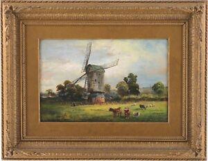 Cattle Rural Landscape Antique Oil Painting by David Payne (Scottish, 1843-1894)