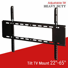 "22""-65"" Dual Arm Slim LCD LED Plasma Flat Tilt TV Wall Mount Bracket Black"
